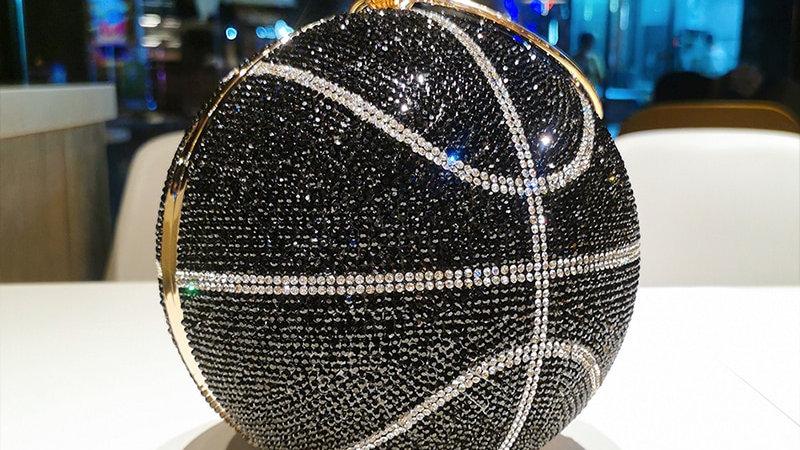 Rhinestone Basketball Football Evening Bag Designer Creative Round Ball Clutch