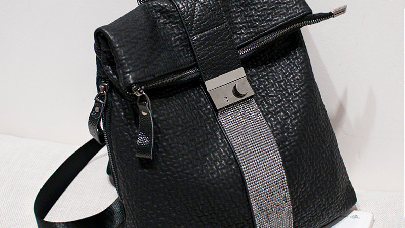 Genuine leather sequin backpack