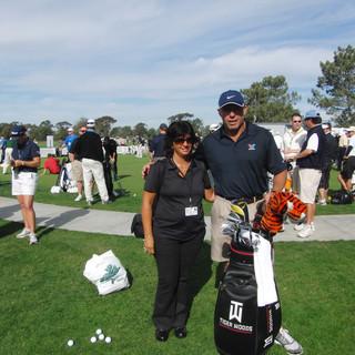 Con Steve Williams, en ese momento caddie de Tiger Woods