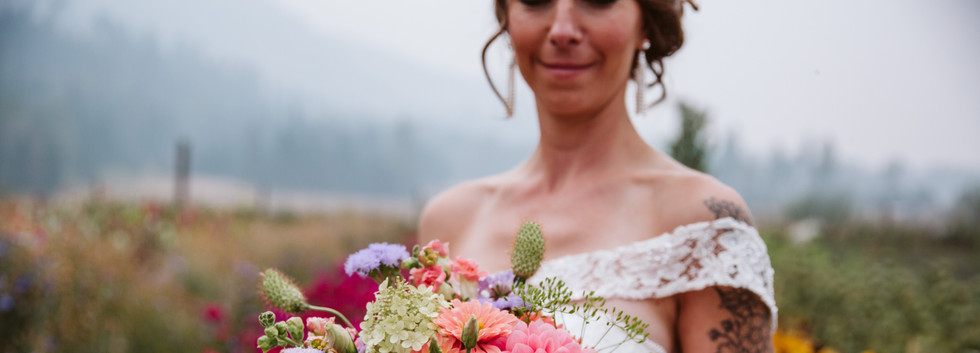 Lush and colorful summer bridal bouquet
