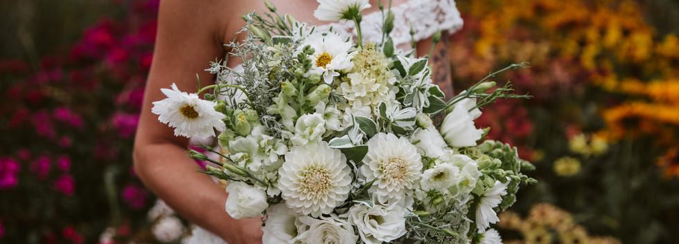 Lush white summer bridal bouquet