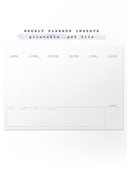 Weekly Planner Inserts For Traveller's Notebook