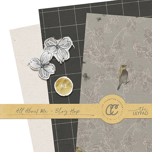 All About Me Kit,  digital scrapbook Collection, including artistic clipart by New Zealand graphic designer, Vinnie Pearce