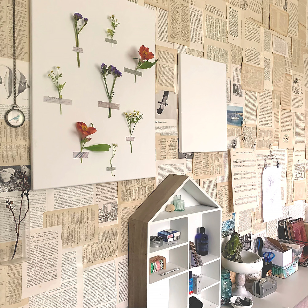 Collage Book Pages Feature Wall by Vinnie Pearce