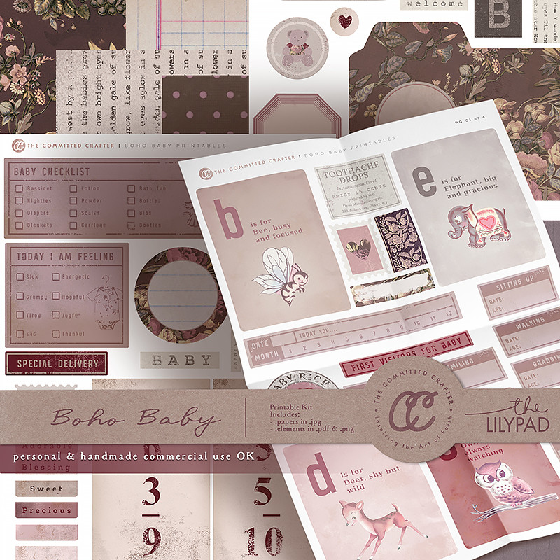 Boho Baby - Printable Kit (Commercial Handcrafters License)
