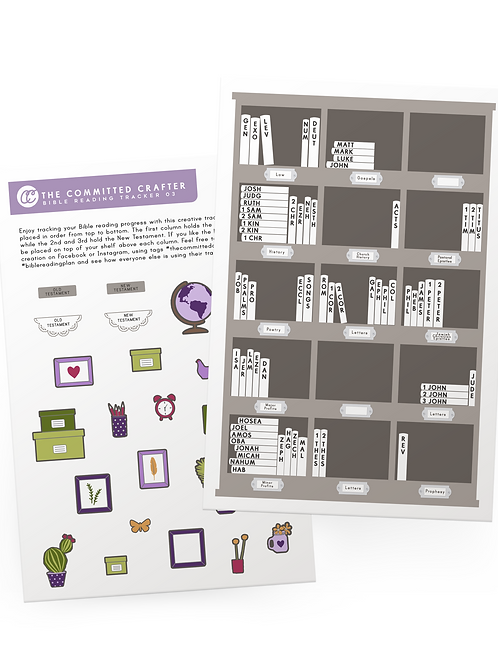 Bible Reading Tracker Stickers + Purple/Red Accessories