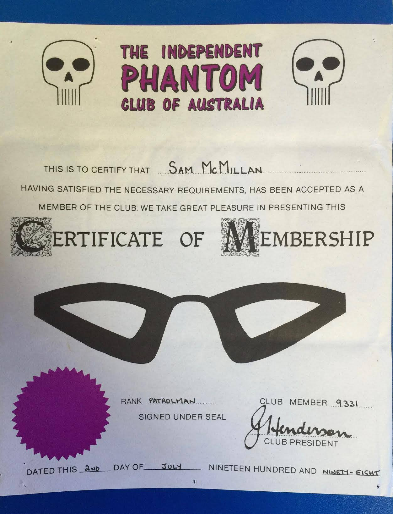 Phantom Club membership credentials, circa 1998