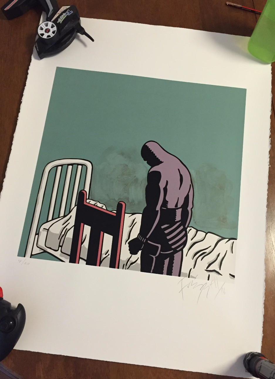 "Silk Screen Print - Dick Frizzell's ""Grieving Phantom"""