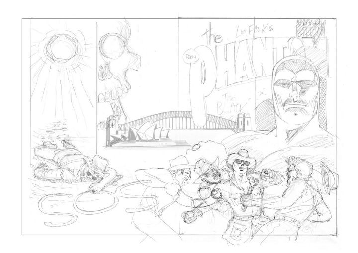 Initial pencil rough (with the bridge and opera house included)