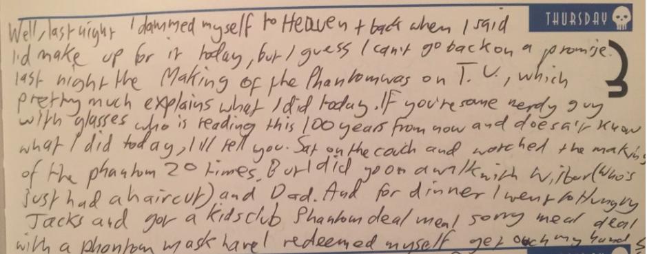 Diary entry 1996