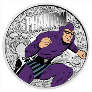 The front of the Coin depicts The Phantom running with Devil