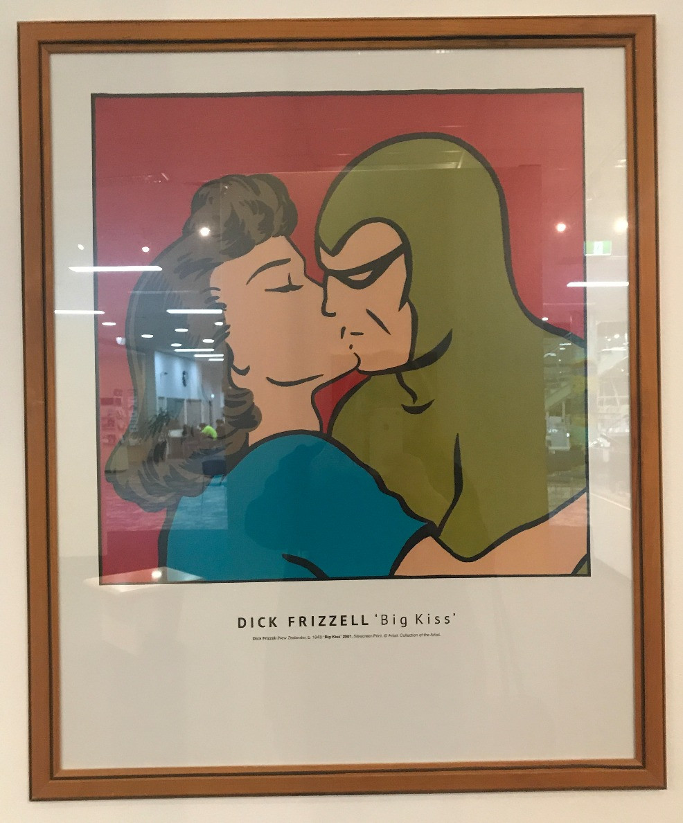 Big Kiss – Phantom Kissing Diana lithograph by Dick Frizzell, 2007