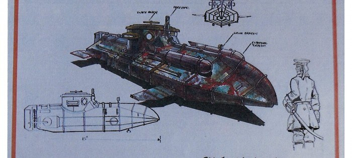 Sketches of the submarine from the 1996 The Phantom movie