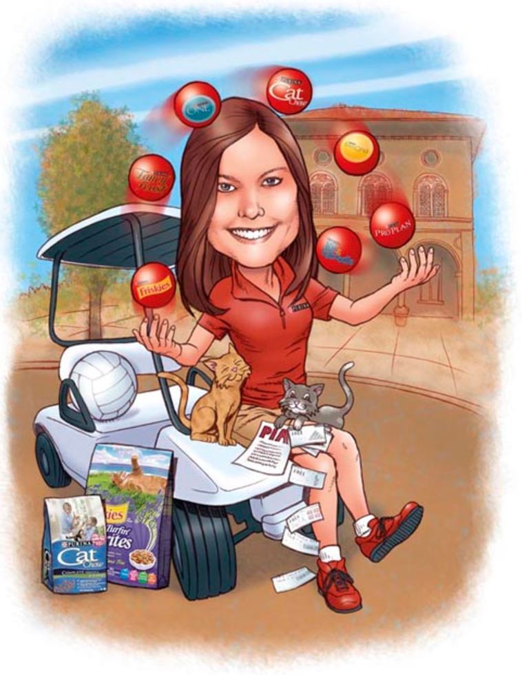 A caricature drawn for the Purina pet food company