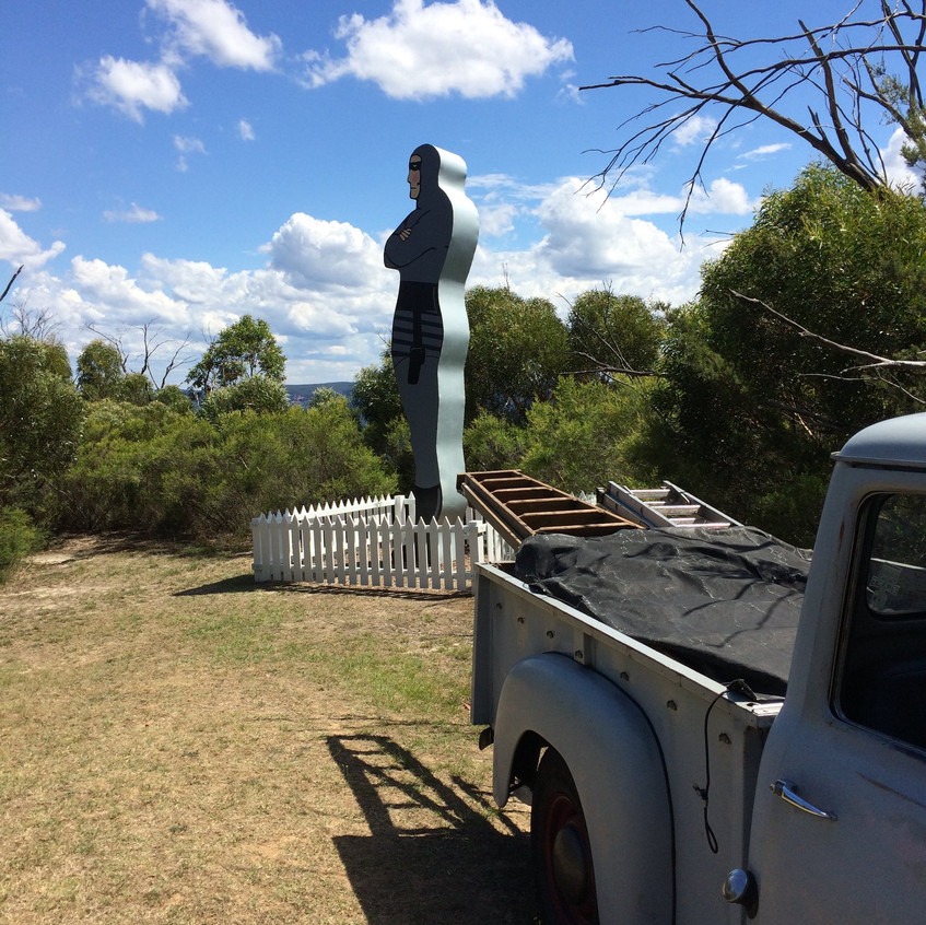Russell's trusty old Dodge ute was vital in the build.