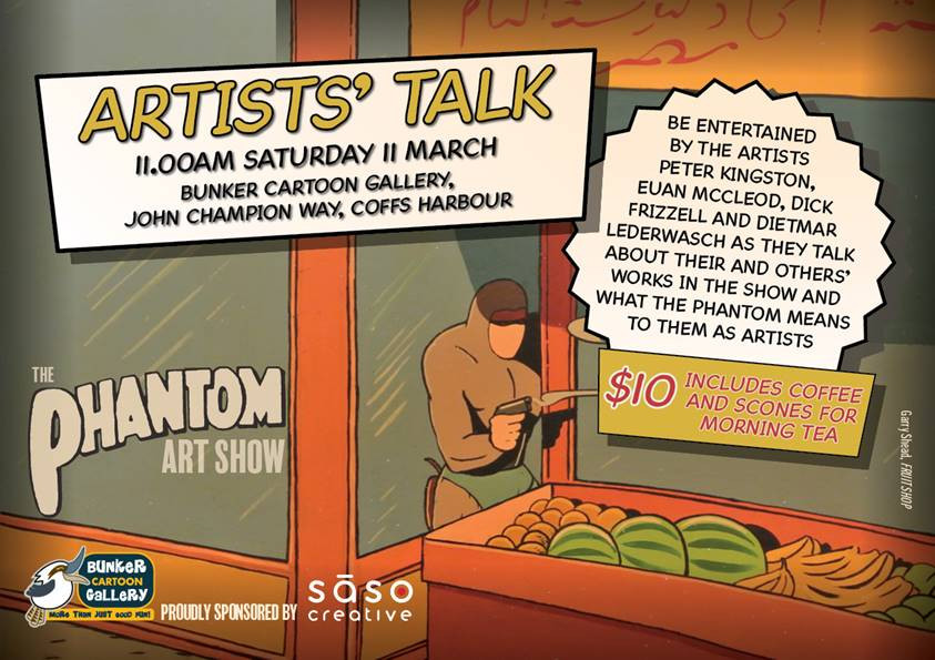 "Artists' Talk invitation, featuring Gary Shead's ""Fruit Shop"""