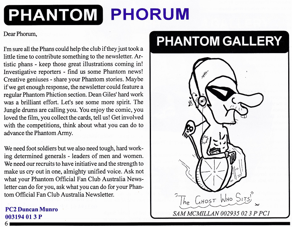 Duncan and Sammy J - In print together in the Phantom Official Fan Club Australia Newsletter