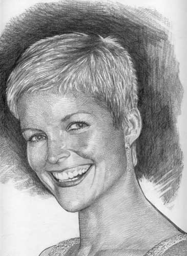 Lemos also produces custom commissions, such as this portrait of Jessica Rowe