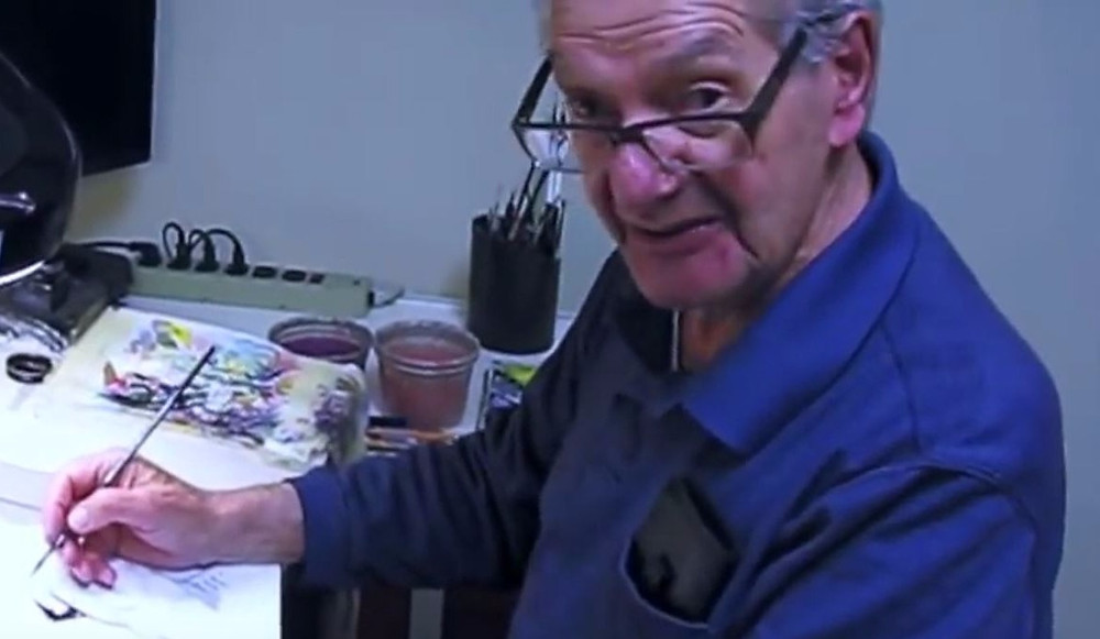 Sy Barry in his studio (Credit: still from David Barry's YouTube video)