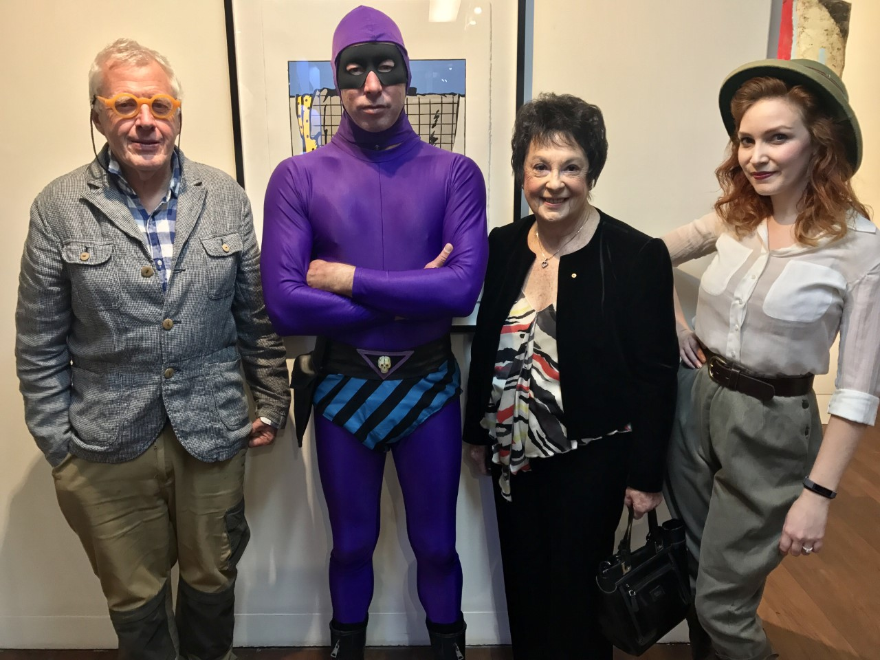 The Phantom and Diana with Peter Kingston and former chair of the Manly Arts Festival and former Mayor of Manly, Jean Hay AM