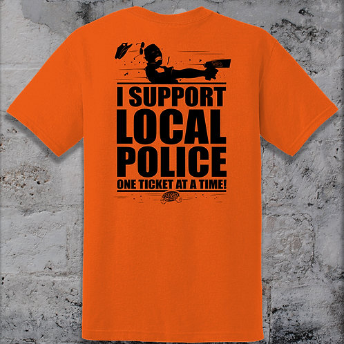 Hot Rod Garage Clothing Company Support Local Police tee Shirt