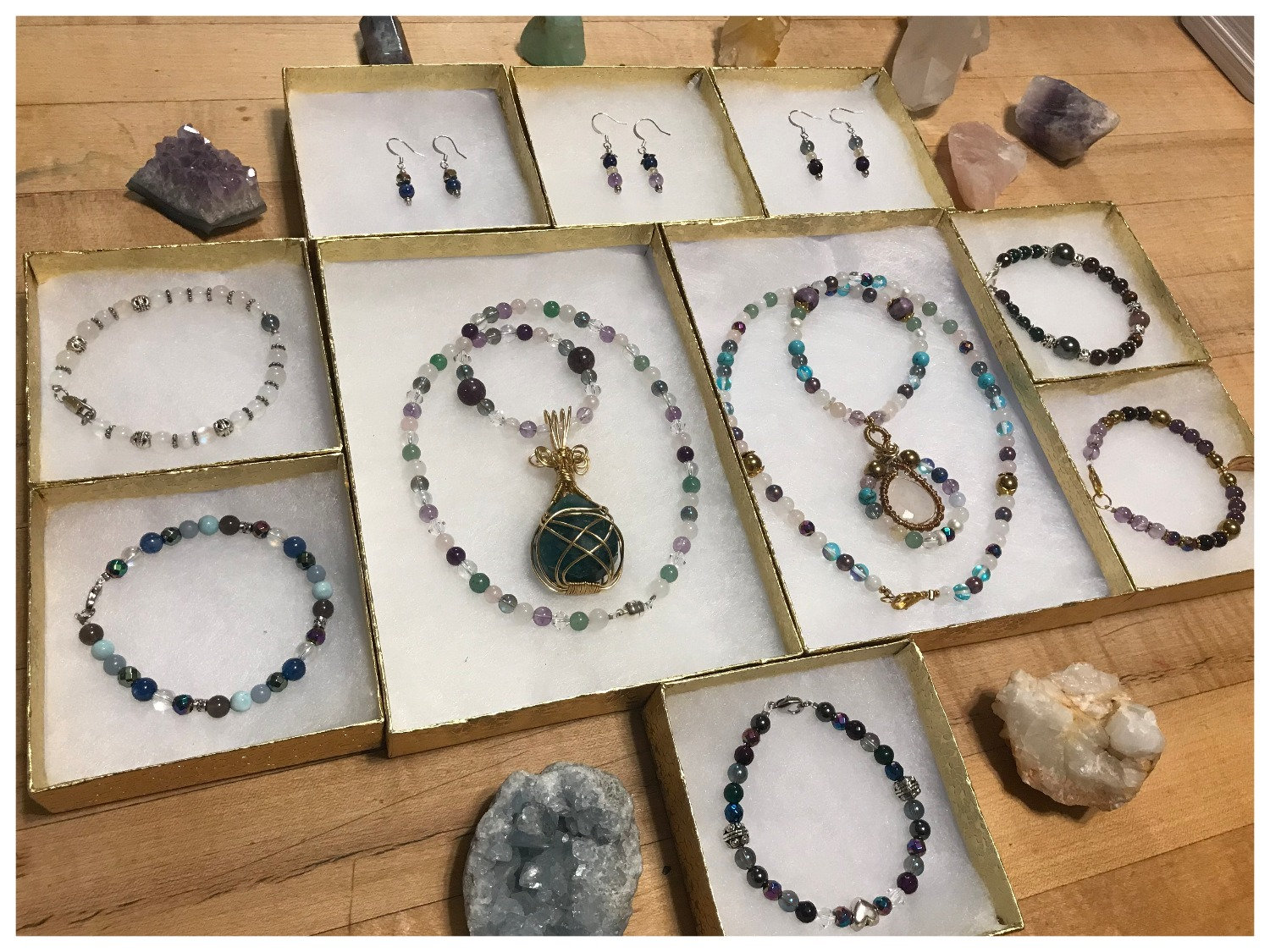 Gemstone Necklace and Earrings