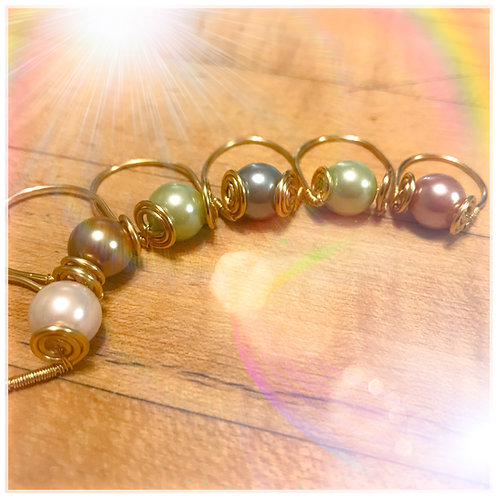 Assorted Color Pearl Rings