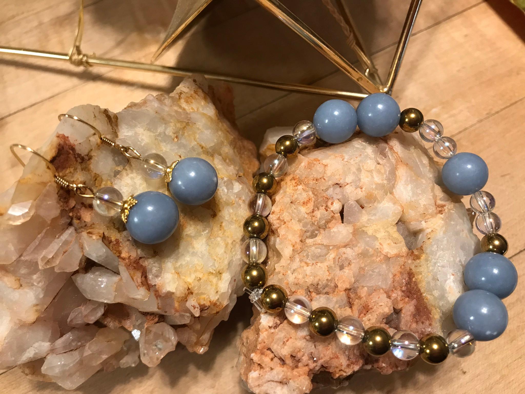 Gemstone Bracelet and Earrings