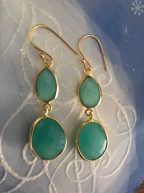 Golden and AquaMarine Goddess Earrings