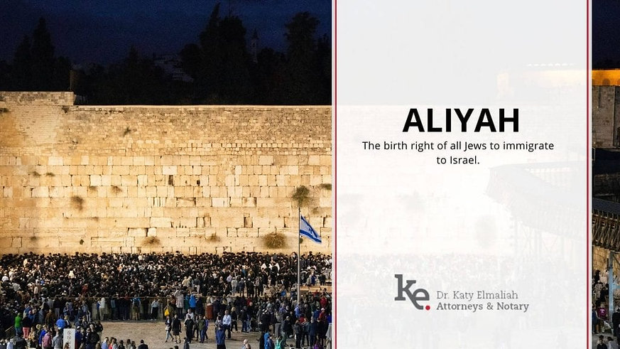 Elmaliah Law Firm Aliyah The birth right of all Jews to immigrate to Israel