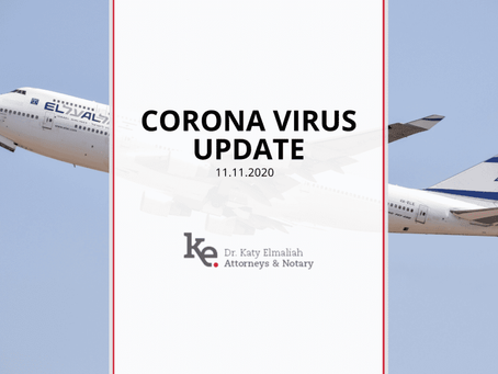 Corona Update: Quarantine upon arrival from and to Israel