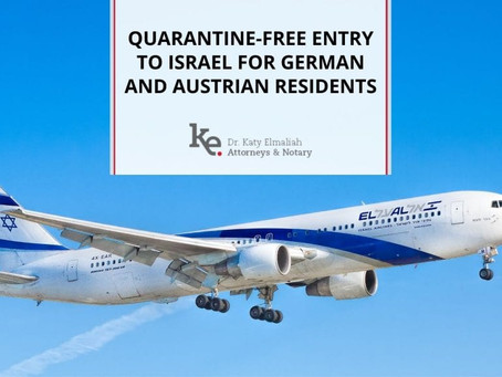 Quarantine-free Entry to Israel for German and Austrian Residents