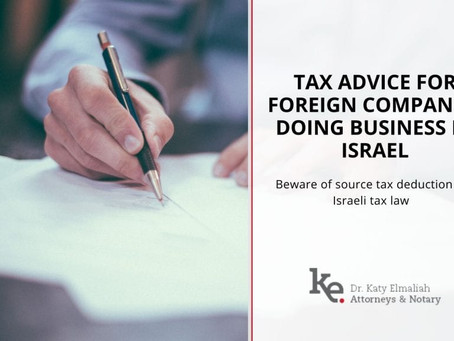 Tax Advise for foreign companies doing business in Israel