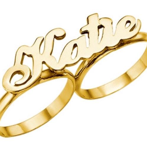 14k Gold Name Ring