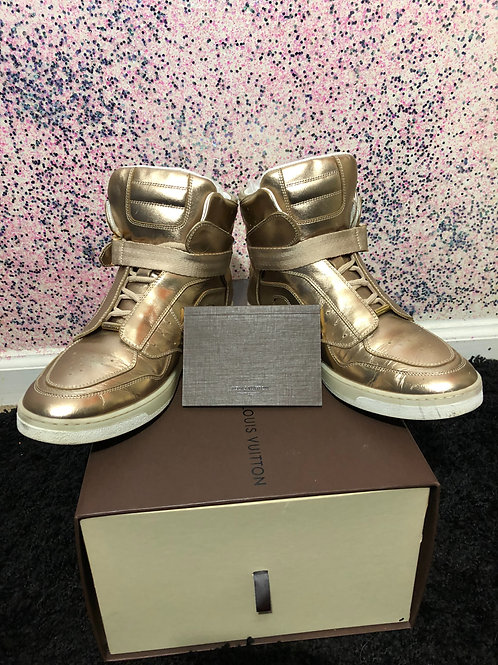 Luis Vuitton Metallic Gold Leather High Top Sneakers