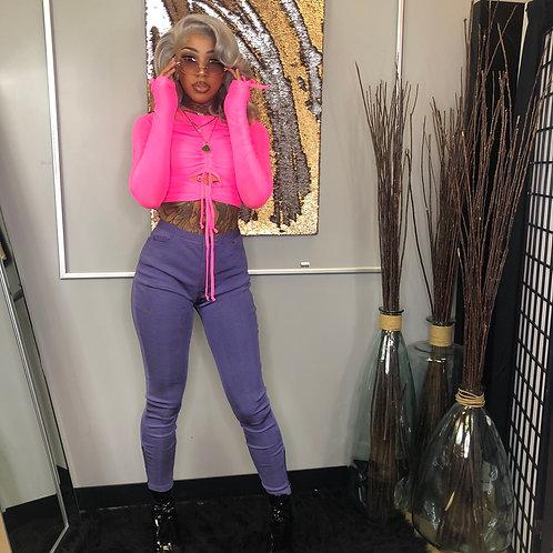 Purple Bandage Pants