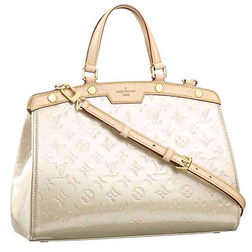 Louis Vuitton Ivory Patent Leather Vernis Brea MM Monogram Bag