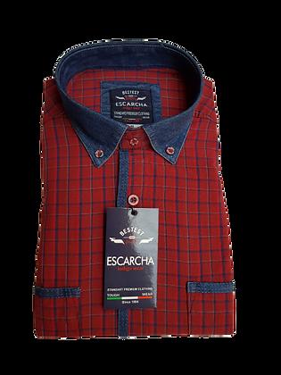 Black Check Red Shirt With Denim Collar