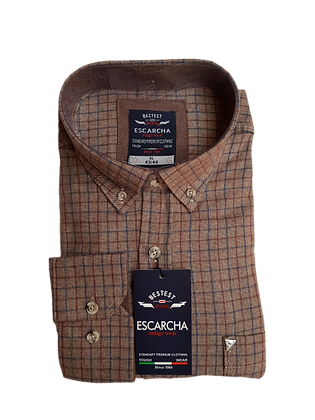 Red & Navy Check Brown Shirt