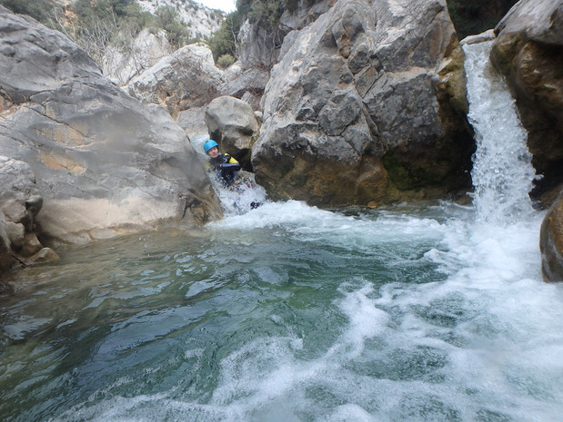 Natural slide - canyoning