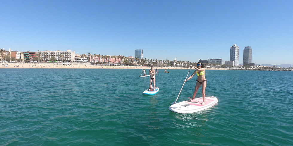 SUP lesson for beginners. Clase de Paddle Surf Barceloneta