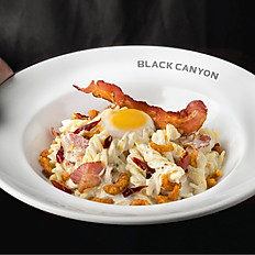 Carbonara with Spicy Crispy Pork and Onsen Egg