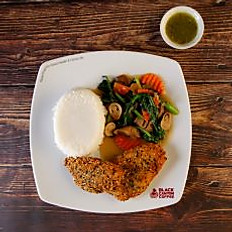 Fried Sesame Crusted Fish with Rice