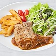 U.S. Pork Chop Steak with Gravy Sauce
