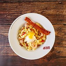Fusilli Carbonara with Spicy Crispy Pork and Onsen Egg