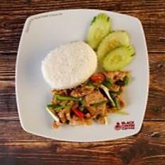 Stir Fried Black Pepper Pork with Rice