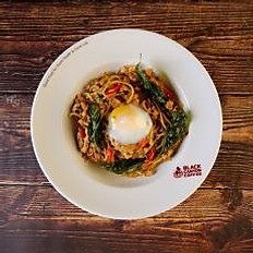 Spicy Pan Fried Spaghetti with Minced Chicken and Hot Basil
