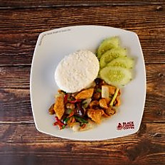 Stir Fried Chicken and Cashew Nuts with Rice