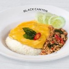 Stir Fried Hot Basil Chicken and Creamy Omelet with Rice