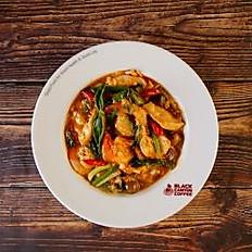 Stir-Fried Curried Prawn and Chicken